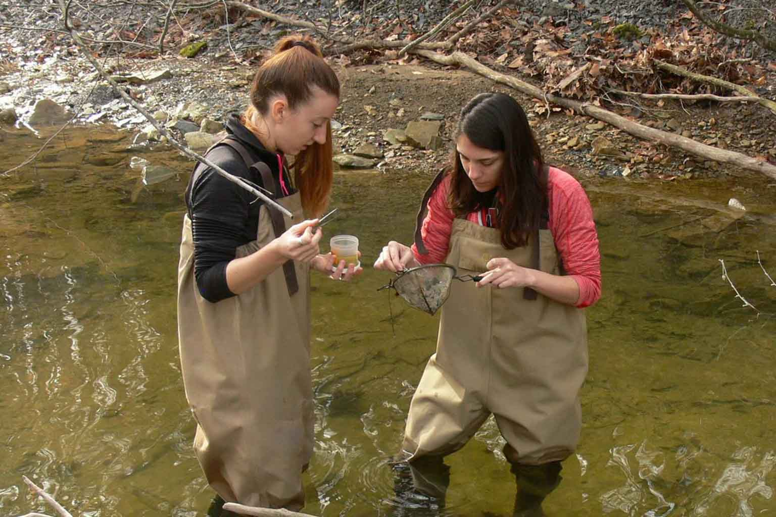Two students do research in a creek