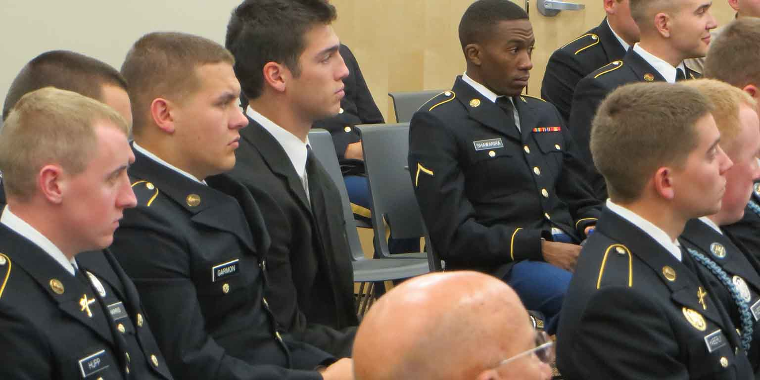 Military students in a SPEA classroom.