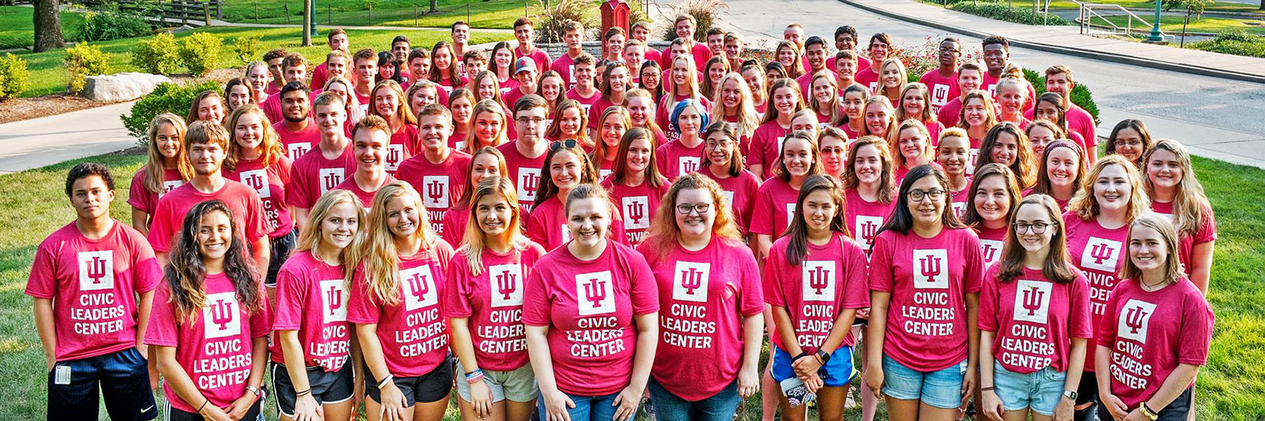 Group shot of Civic Leaders students, all in red Civic Leaders Center IU t-shirts.