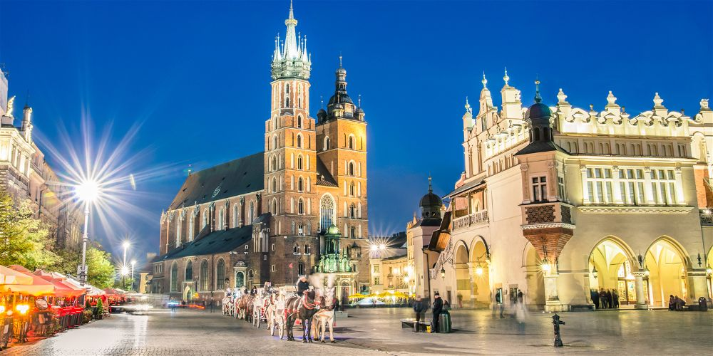 The main square in Krakow, Poland at night