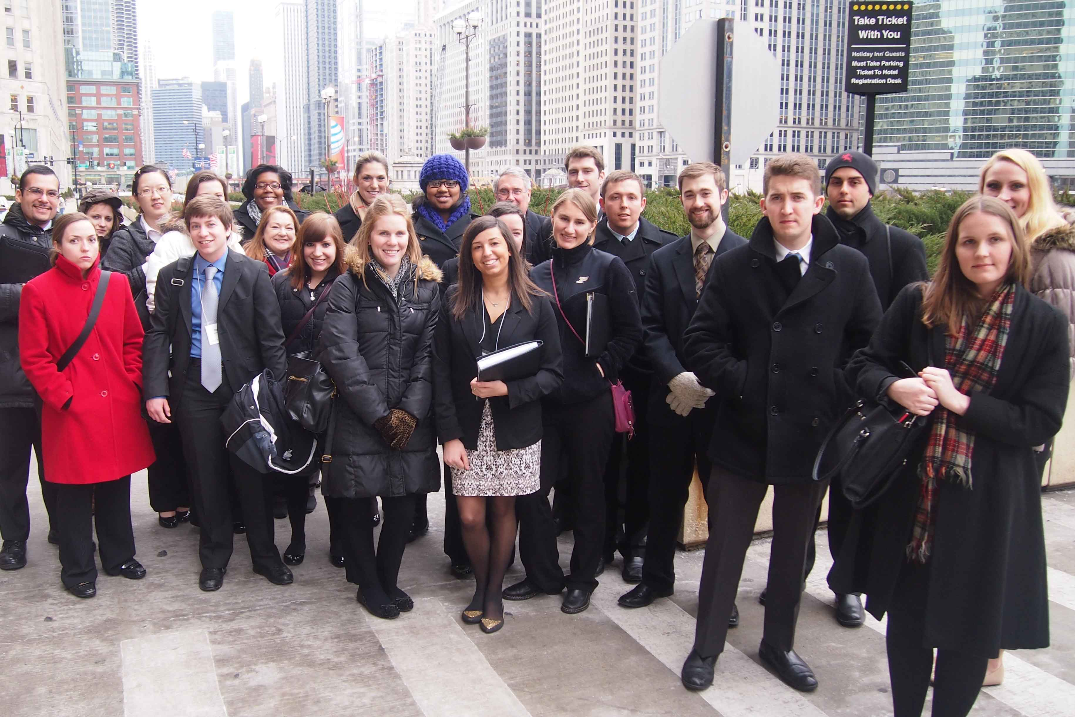 A group of students at a CDO career trip in Chicago.