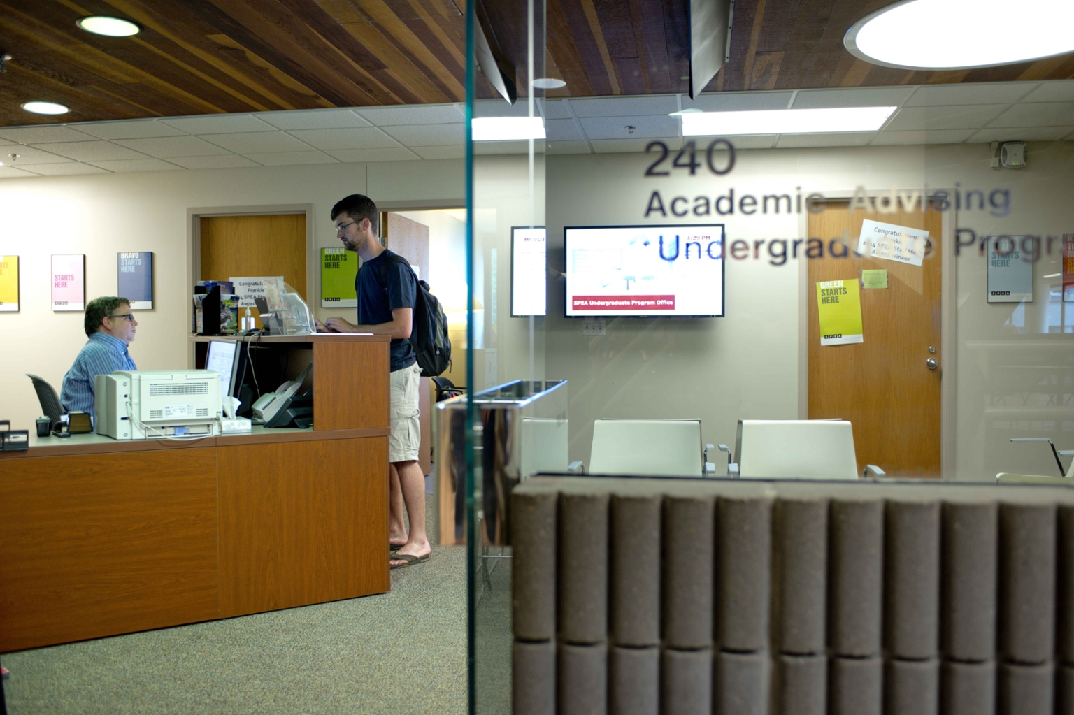 Work gets done at the UPO front counter.