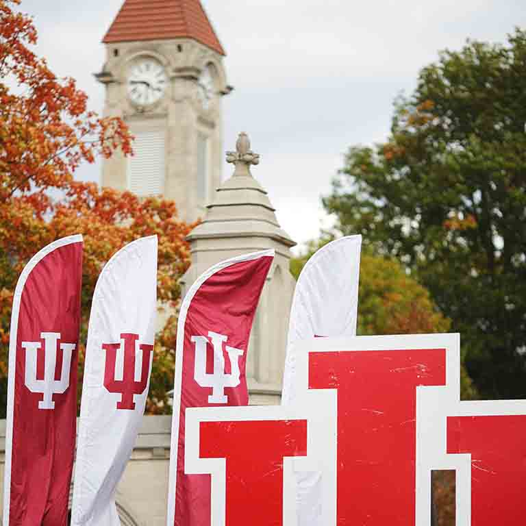 IU flags and clocktower